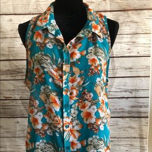 Sz 3x Floral Sleeveless Button Down